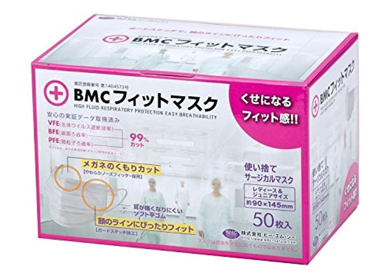 スマイル幻滅学士BMC フィットマスク 使い捨てサージカルマスク レディース&ジュニアサイズ 50枚入