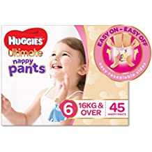 Huggies Ultimate Nappy Pants, Girls, Size 6 Junior (16+kg), 45 Count