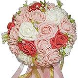 F-grip ウェディング ブーケ アートフラワー バラ プレゼント (ホワイト・ピンク・レッド)