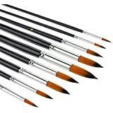 Watercolour brushes-9Pcs Sable Weasel Hair Round Tipped Paint Brushes Set Birch Long Handle for Watercolor, Acrylic and Liner Painting