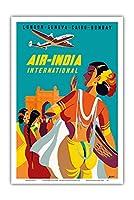 ロンドン、ジュネーブ、カイロ、ボンベイ - エアインディアインターナショナル - ビンテージな航空会社のポスター によって作成された アジアート c.1950 - アートポスター - 31cm x 46cm