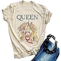 Anbech Vintage Queen Shirt Women Music Concert Graphic T-Shirt Letter Print Short Sleeve Tee Tops S
