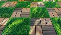 山善 ガーデンマスター 人工木ジョイントタイル(10枚組) ナチュラルブラウン MWJT-T8(NTBR)10