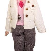 ノーブランド品 2個 1/12サイズ ドールハウス ミニチュア 磁器製 人形 人形の家 飾り 全6パタン選べ - 白いコート少女