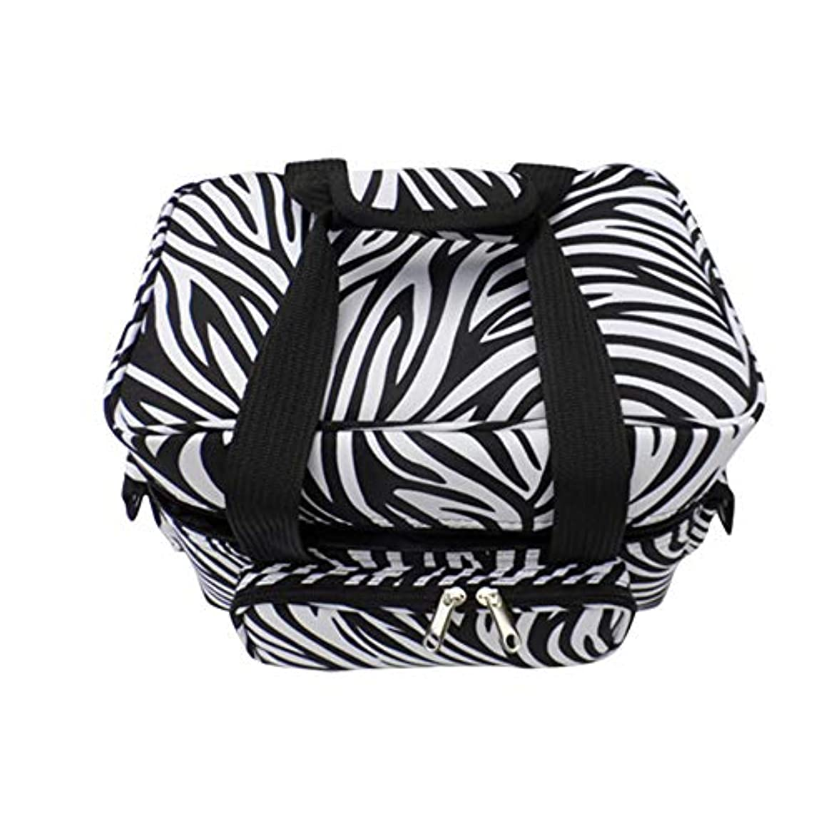 寄付不和論文化粧オーガナイザーバッグ ゼブラストライプポータブル化粧品バッグ美容メイクアップと女の子女性旅行とジッパーとトレイで毎日のストレージ 化粧品ケース
