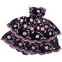 Dovewill バービー コレクター 人形用服 パーティードレス 黒い2層花柄の刺繍 ロングスカート ドレス 飾り物 贈り物