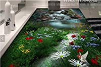 C547 巨大 3D フロアマット 2m*3m* 自然 葉っぱ 石 芝生 花 木 空 風景 景色 防音 断熱 滑り止めシート 床 壁 天井 はがせるシール