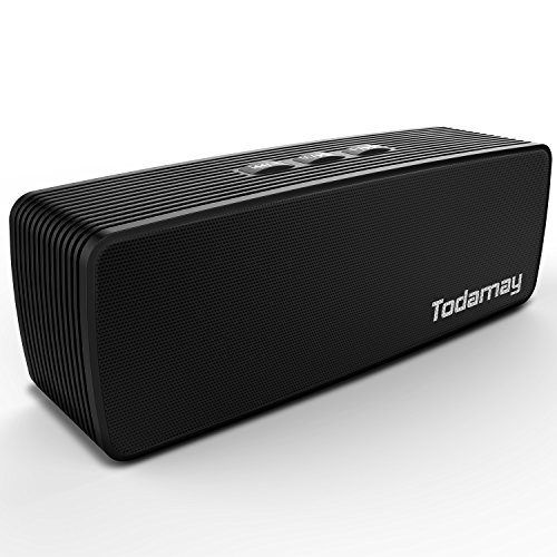 Bluetoothスピーカー Todamay ブルートゥーススピーカー 高品質ポータブル、AUXオーディオケーブル有線再生、USBメモリー、TFカード、FMラジオ放送、内蔵マイク、強力な互換性、ベッドルーム、書斎、リビングで使用でき、ブラック