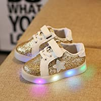 tenworld LEDライトUp靴幼児/キッズ男の子女の子フラッシュスニーカー 22 ゴールド