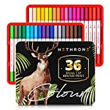 Hethrone Dual Tip Brush Pens with Fine-Liner Tip 0.4, Dual Tip Marker Pens Water Based Ink for DIY Coloring Book, Sketching, Painting, Drawing, Manga Fashion Design(36 Colors White)