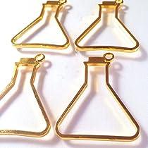 三角フラスコのレジンフレーム(理系アクセサリー)空枠ゴールド(4個) カン付きセッティング レジン 枠 アクセサリーパーツ セッティング ハンドメイド 手芸材料