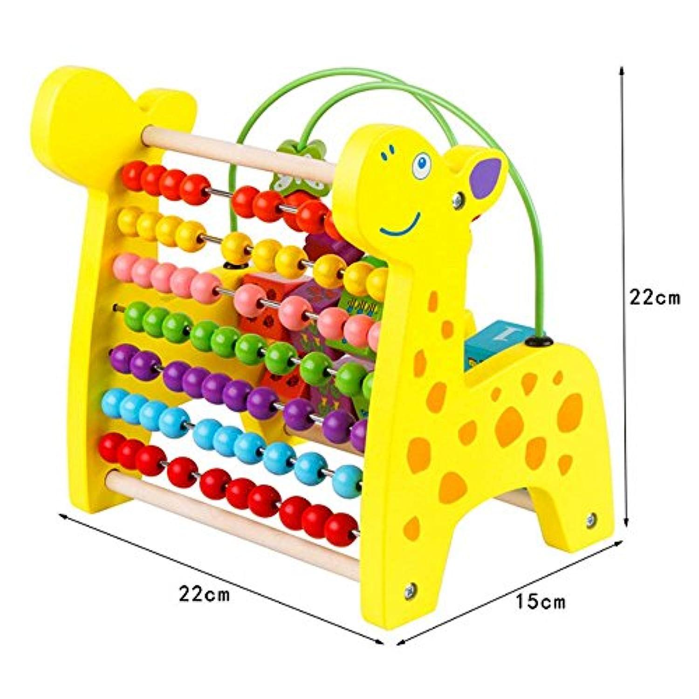 hljgift Giraffe円ビーズ数数学図形の色認識の計算機シェルフ木製玩具キッズ幼児用
