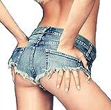 (ジョーヌドレ) Jaune Dore デニム ショートパンツ レディース 美尻カット クラッシュ ショートパンツ 超ミニ 極浅 ホットパンツ 切りっぱなし 選べて嬉しい 4サイズ 大きいサイズ 8001 (Sサイズ)