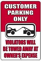 お客様駐車場のみメタルTin SignビジネスRetail StoreホームViolator 's Will Be Towed