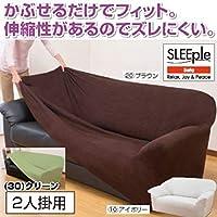 伸縮フィット式ソファーカバー(ヨコストレッチ) 【2人掛け用/グリーン】 洗える
