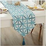 [Ziv-Nat] テーブルランナー 水色 ブルー 32×200cm 北欧 モダン 幾何模様 おしゃれ 洗える 裏無地 ジャカール アジアン 和風 ペンダント付き