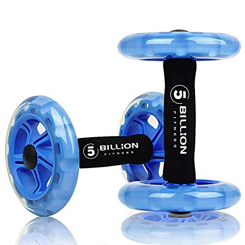 5BILLION 腹筋ローラー ダブルコア ダブルコアの腹部のホイール トレーニング、腹筋、背中、腕、肩、胴、腰します 跪きマットが含まれてい (ブルー)