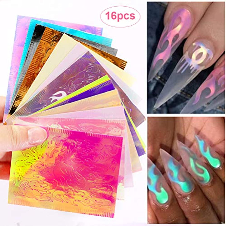 自動的にそれにもかかわらずポーチSefod ネイルステッカー マニキュア ネイルアート 16枚 炎反射 DIYの装飾 ネイルラップ ネイルシール 女性 レディースプレゼント ギフト 可愛い 人気 おしゃれ