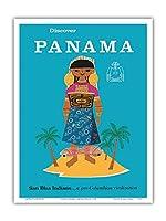 パナマを発見する - サンブラスインディアン.プリコロンビア文明 - ビンテージな世界旅行のポスター c.1960 - アートポスター - 23cm x 31cm