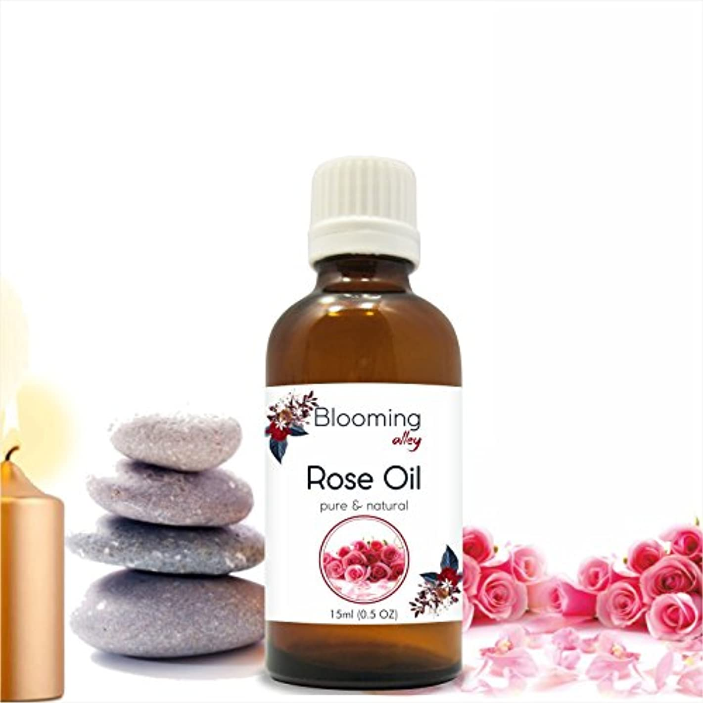 Rose Oil (Rosa Damacenia) Essential Oil 15 ml or .50 Fl Oz by Blooming Alley