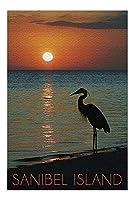 Sanibel Island、フロリダ州 - Heron and Sunset (20x30プレミアム1000ピースジグソーパズル、アメリカ製。