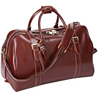 Leathario Mens Genuine Leather Overnight Travel Luggage Carry On Airplane Duffle Overnight Weekender Bag