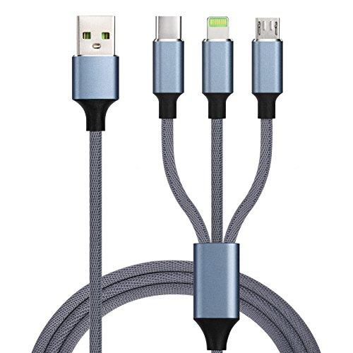 ライトニングケーブル Beyimei Micro USB Type-Cケーブル 3in1 充電ケーブル USB Type C/ライトニング/Micro USB ケーブル 3A急速充電 iOS/Android 同時給電可能 iPhone8 8plus 7 7 plus/6 6s plus/iPad/Macbook 1本3役 多機種対応 1.2m ブルー