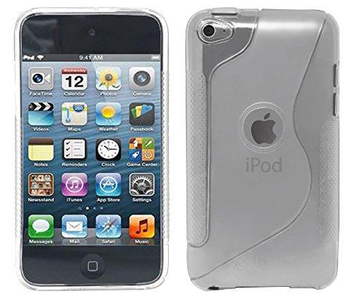 iPod Touch4 TPU Sデザインソフトケースカバー 液晶保護フィルム&クリーナー1セット付属 クリアー(透明