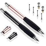 MEKO(第2世代)タッチペン スマホ iPhone iPad スタイラスペン Android スマートフォン タブレット用 ペン ディスク+導電繊維(2in1)ペン先(ブラック/ローズゴールド)