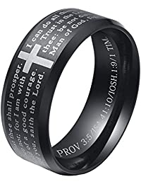 ALEXTINA Men's 8MM Stainless Steel Bible Verse Christian Lord's Prayer Cross Ring Wedding Bands Black Size 8
