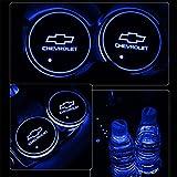 車用 LED ドリンクホルダー レインボーコースター 車載 ロゴ ディスプレイライト LEDカーカップホルダー マットパッド (シボレー Chevrolet) - 2,100 円
