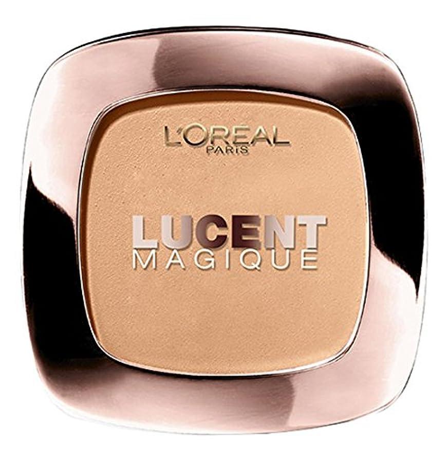 外側宣言円形のロレアル パリ チーク ルーセントマジック パウダーブラッシュ G1 ゴールドオブセスト ゴールド系