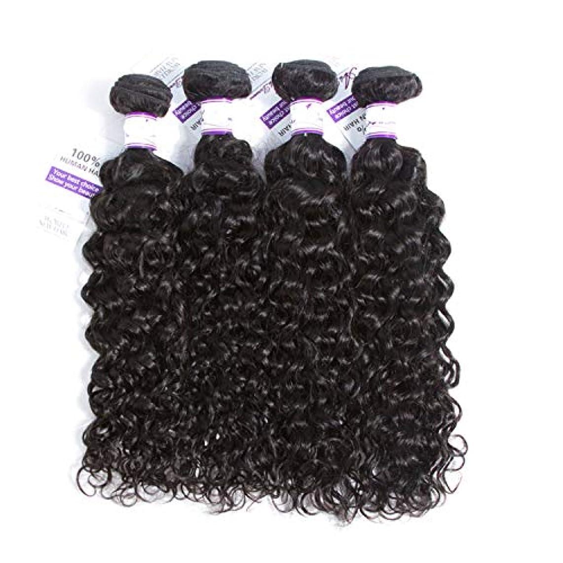 ヘルパー作るクラシックかつら マレーシア水波髪バンドル8-28インチ100%人毛織りのremy髪ナチュラルカラー4ピース髪織り (Stretched Length : 10 12 14 14)