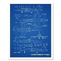 Northrop F-5A Freedom Fighter US Plane Blueprint Plan Art Print Framed Poster Wall Decor 12x16 inch ファイター 飛行機 青 ポスター 壁 デコ