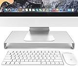 HUASUNモニター台 机上台 PCスタンド パソコン台 モニタースタンド キーボード収納 アルミ製幅40cm Apple Samsung HP iMac等に対応(シルバー)