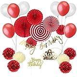 Easy Joy 1歳誕生日/100日お祝い/ベビーシャワー/結婚式飾り付けセット 大量23点入 筆記体誕生日ガーランド ケーキトッパー ペーパーファン インテリア 写真背景 前撮り道具