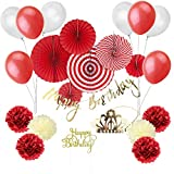 Easy Joy 1歳誕生日/100日お祝い/ベビーシャワー/結婚式飾り付けセット 大量23点入 筆記体誕生日ガーランド ケーキトッパー ペーパーフ..