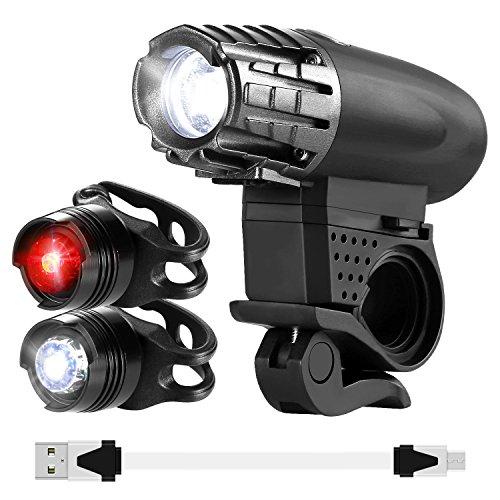 OUAMEI 自転車ヘッドライト USB充電 2個テールライ...