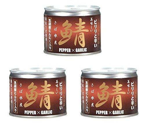 伊藤食品 ピリリと辛い 美味しい鯖水煮 黒胡麻にんにく入り190g × 3缶