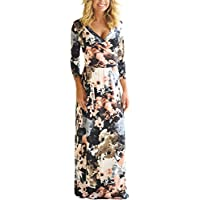 Dokotoo Womens Summer Floral Print Faux Wrap Maxi Long Dresses with Belt