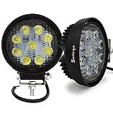 Safego 27W LED 作業灯 車外灯 狭角30度タイプ LEDワークライト 汎用 スポットライト 9連 丸形 農業機械 6000K ホワイト 27WR-SP-2