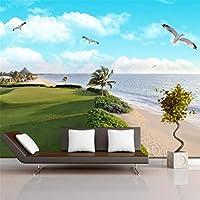 Hxcok 3Dステレオ壁画壁紙青空海辺の風景写真壁画寝室のインテリアPapel De Parede-400X280CM