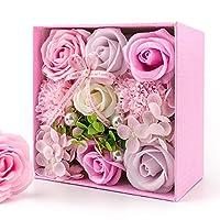 バラ型 フラワーソープ フレグランス ハードフラワー形状 Aimego 創意方形ギフトボックス入り 母の日 記念日 先生の日 バレンタインデー 昇進 転居など最適 (ピンク)
