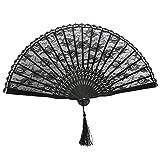 レディース ウエディングドレス tinksky spanish victorian hand fan for wedding party favour fancy dress (black)