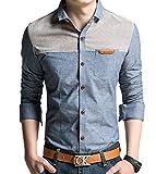 (シュガーポート)SUGAR PORT シャツ メンズ 長袖 デニムシャツ 切り替え PAW001 (ブルーXLサイズ)