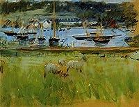 手描き-キャンバスの油絵 - Harbor in the Port of Fecamp Berthe Morisot 芸術 作品 洋画 ウォールアートデコレーション -サイズ02
