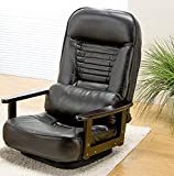 座椅子 肘掛け 360度回転。 人気商品 折り畳み式♪木肘回転座椅子 ブラック