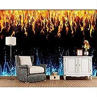 Xbwy 火災水テクスチャ黒背景炎の壁紙リビングルームテレビソファ壁の寝室Ktvバーレストラン壁画-120X100Cm