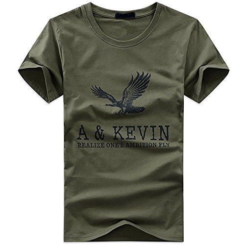 CHROME CRANE(クロム クレイン) メンズ 半袖 Tシャツ アメカジ ロゴプリント カットソー イーグルTシャツ TSP009 (カーキ,XL)