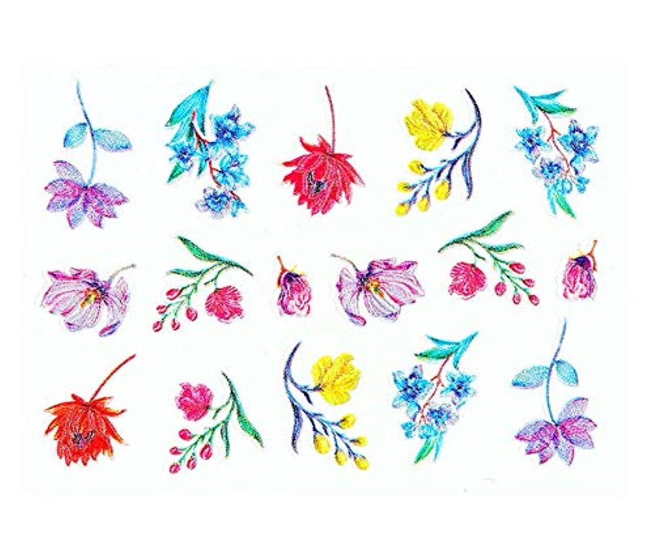 糸文庫本卵Tianmey 5Dエンボス透かしネイルステッカーフラワーマニキュアデコレーションネイルデカールステッカー (Color : Flower)